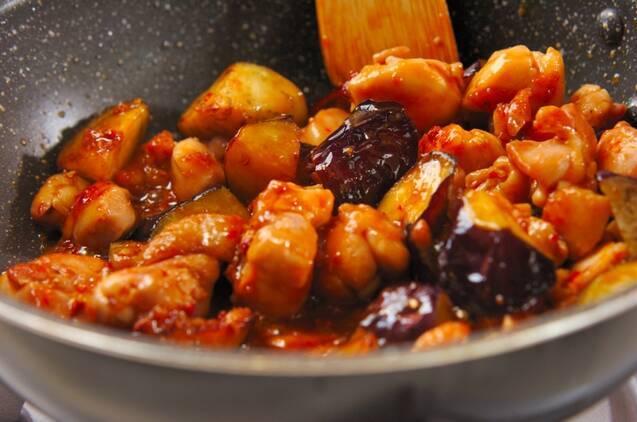 鶏とナスの辛みそ丼の作り方の手順5