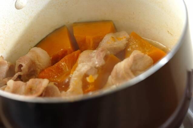 カボチャと豚肉の煮物の作り方の手順4
