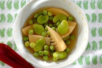 ソラ豆とタケノコのトロミあん