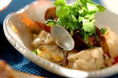 アサリと豆腐の紹興酒蒸し