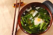 ニラとおとし卵のスープ