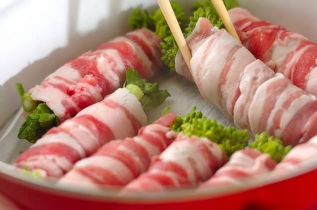 菜の花の豚肉蒸しの作り方の手順3