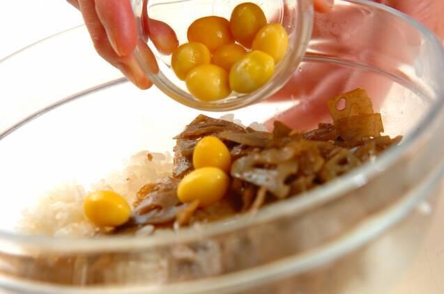 レンコンきんぴらの混ぜご飯の作り方の手順4