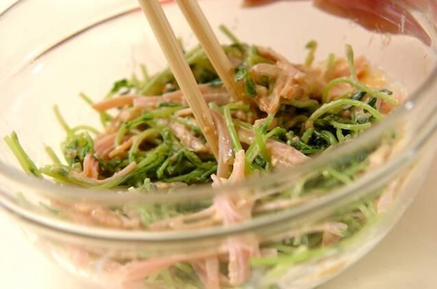 豆苗とハムのゴママヨ和えの作り方の手順3