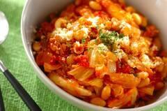 鮭缶と大豆のトマト煮