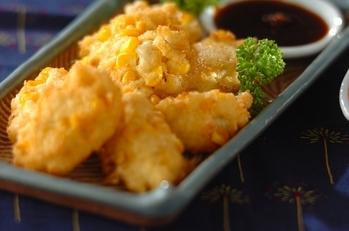 トウモロコシと豆腐の落とし揚げ