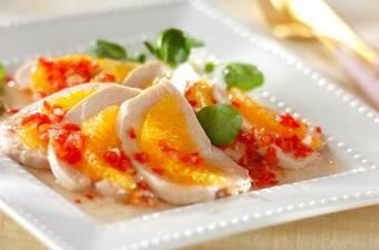 鶏ハムとハッサクのサラダ ラビゴットソース