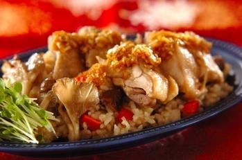 炊飯器でできる! 蒸し鶏&炊き込みご飯