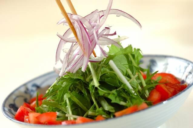 水菜とジャコのサラダの作り方の手順2