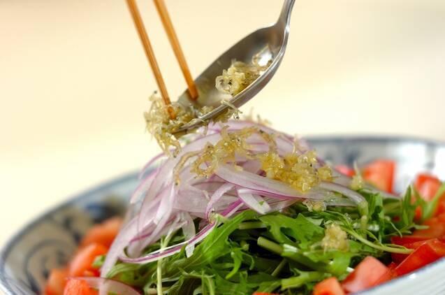 水菜とジャコのサラダの作り方の手順3