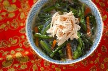 春菊とささ身の春雨スープ