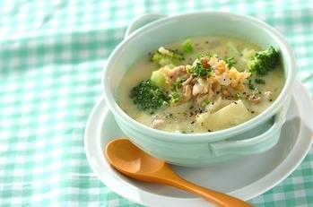 豚こまとジャガイモの豆乳スープ