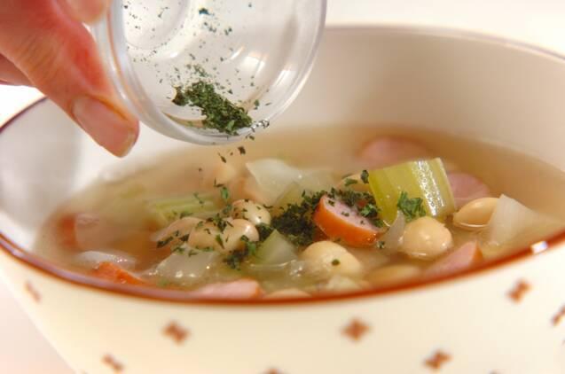 大豆とソーセージのスープの作り方の手順3