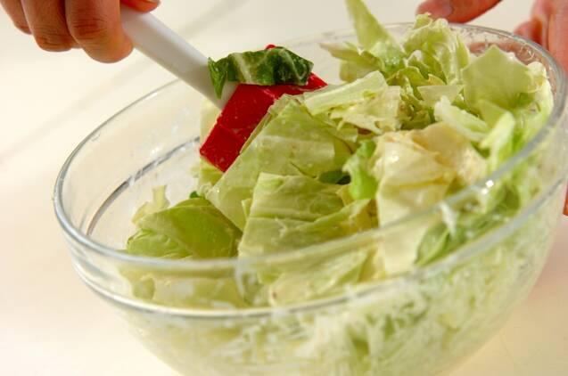 春キャベツのシーザーサラダ風の作り方の手順2