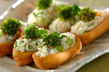 菜の花と干しエビのいなり寿司