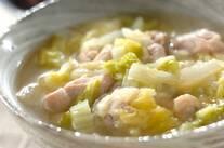 鶏肉と白菜のユズコショウスープ