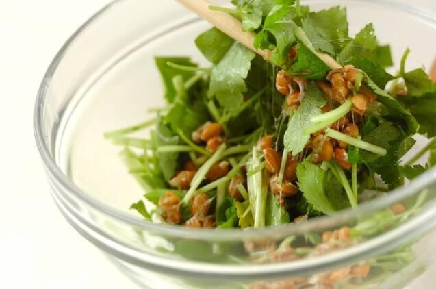揚げ納豆のバルサミコ酢かけの作り方の手順1