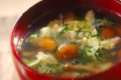 ナメコとミツバの卵スープ