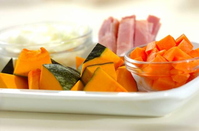 カボチャと枝豆の豆乳スープの作り方の手順1