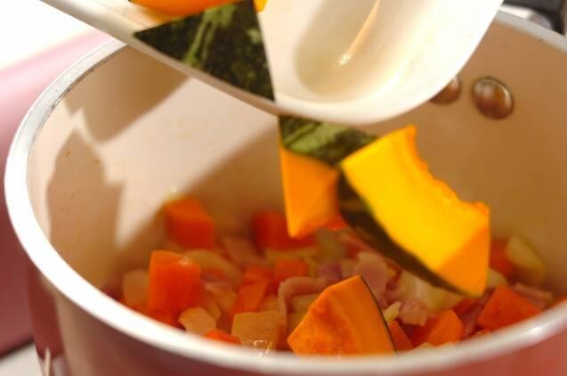 カボチャと枝豆の豆乳スープの作り方の手順4