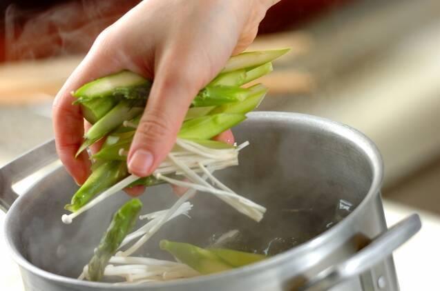 ハマグリとアスパラのスパゲティーの献立の作り方の手順4