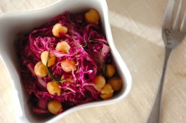 紫キャベツとヒヨコ豆のマリネ