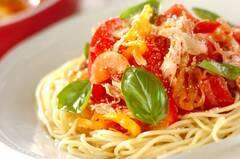 ささ身とトマトの冷製スパゲティー