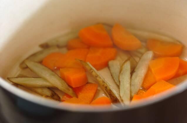 根菜のうま煮つけそばの作り方の手順3