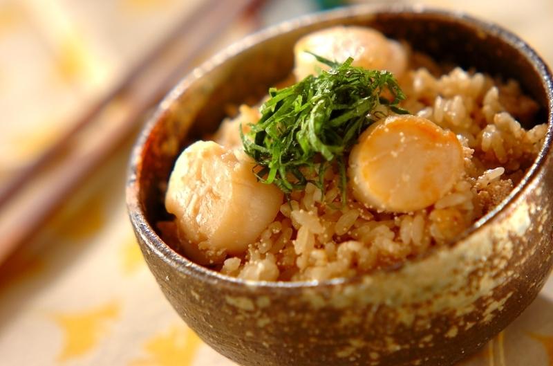 1. タラコとホタテの炊き込みご飯