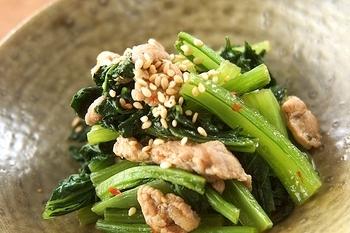 小松菜のピリ辛炒め
