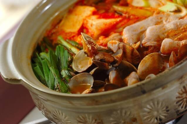アサリと豆腐のチゲ鍋の作り方の手順3
