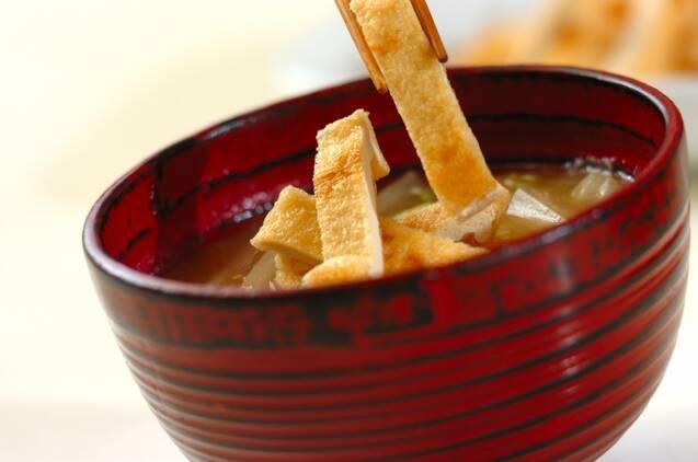 カリカリ油揚げと白菜のおみそ汁の作り方の手順4