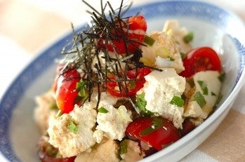 くずし豆腐の黒酢和え