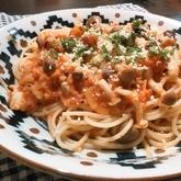 タコとトマトの煮込みパスタ
