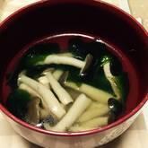 シメジとハムのスープ