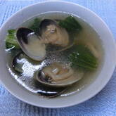 アサリとホウレン草のスープ