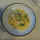 小松菜とベーコンのカルボナーラ