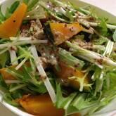水菜とささ身の粒マスタードサラダ