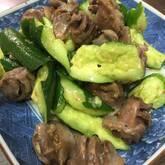 砂肝とキュウリの炒め和え