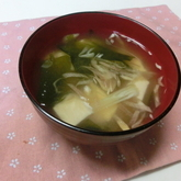 豆腐とミョウガのみそ汁