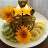 水玉模様のロールケーキタワー