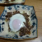 牛肉ソース炒めの卵とじ