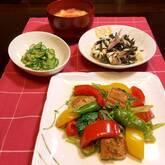 ウナギとパプリカの炒め物