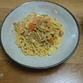 ひき肉とキャベツのカレークリームスパゲティー
