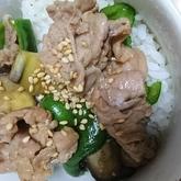 野菜たっぷり豚肉のみそ炒め丼