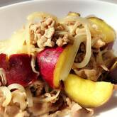 サツマイモと豚肉の炒め物