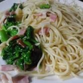 小松菜とベーコンのペペロンチーノ