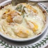 ゆで卵の豆乳グラタン
