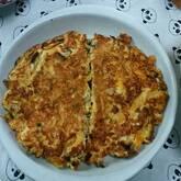 ニラとひき肉の卵焼き