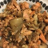 鮭とキノコのマヨしょうゆ炒め